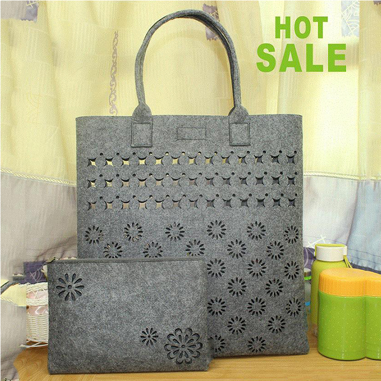 2 piece bag set hollowed designs lash package non woven felt tote bag lady hand bag