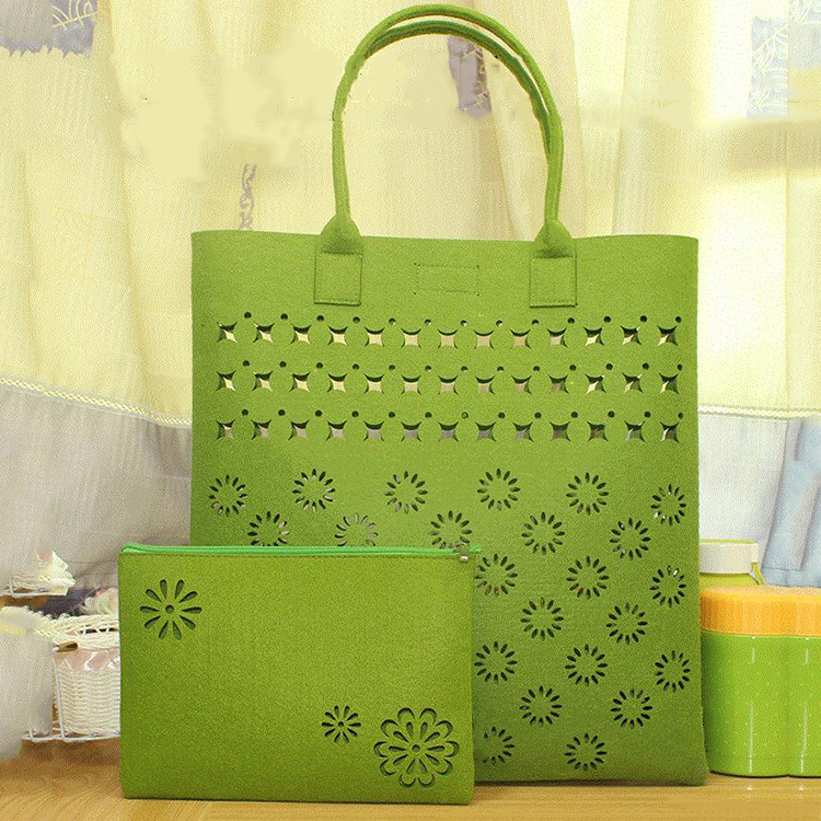 2 piece bag set hollowed designs lash package non woven felt tote bag lady hand bag