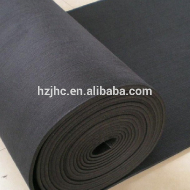 Thick black polyester needle punched nonwoven felt material