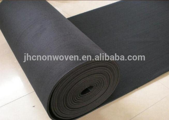 Needle punched black insulated polyester non-woven felt fabric