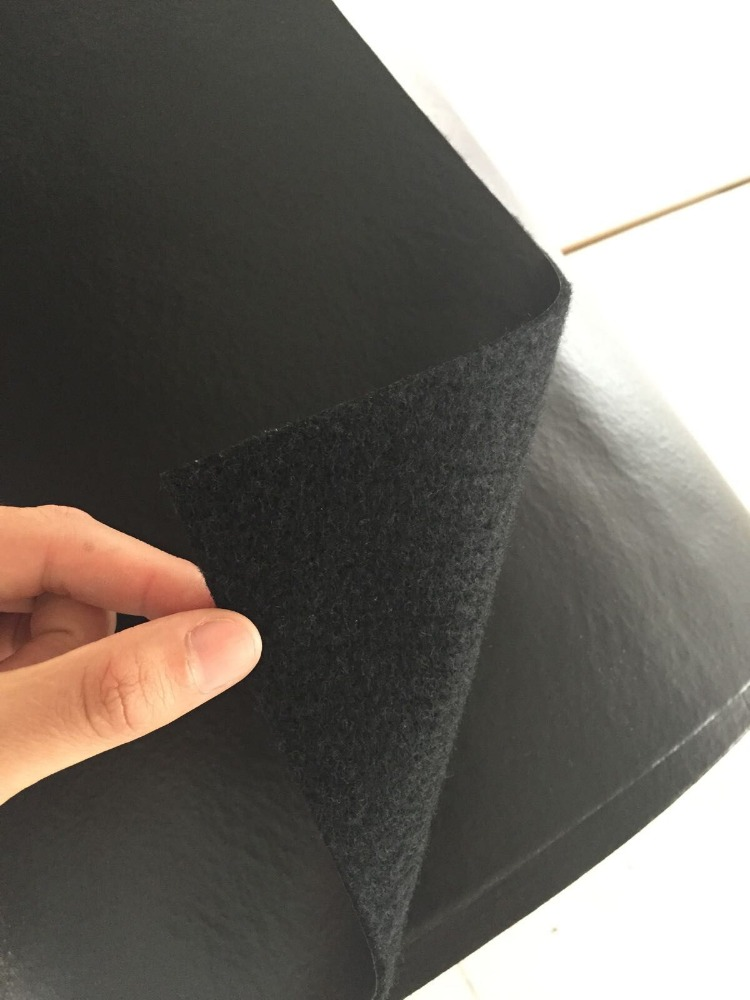 Automotive use of non-woven needled fabric with SBR glue backing