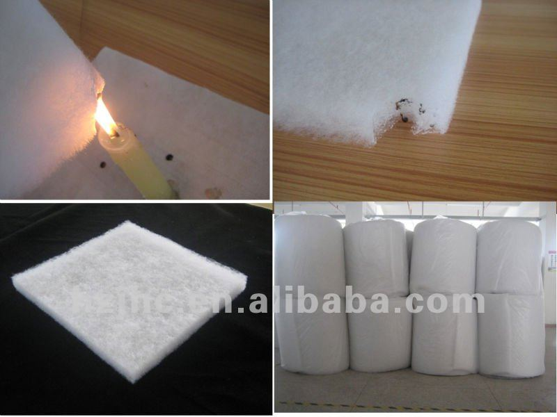 Fireproof thermal bonded polyester cellulose wadding