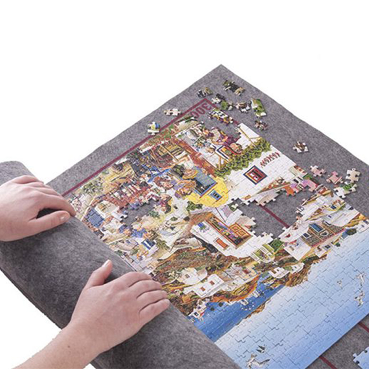 No creases Educational Children non woven felt roll up jigsaw puzzle mat