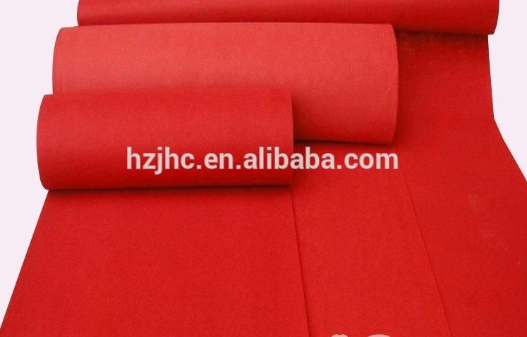 100% polyester plain nonwoven outdoor red patterned carpet